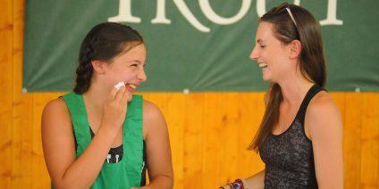 girls talking at sports summer camp