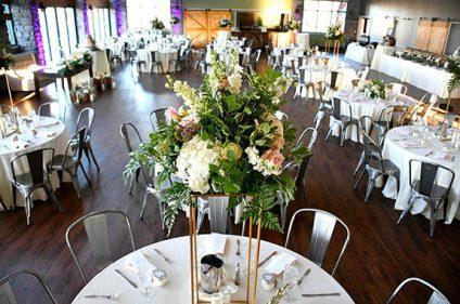 Reception Set Up with Tall Flower Centerpiece