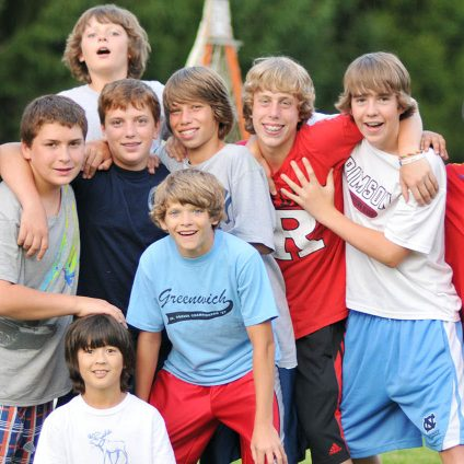 group of boys at sports training camp