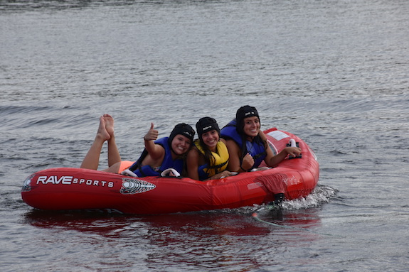 teens at ISTC on float at Trout Lake