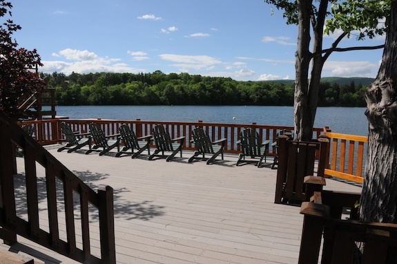 patio furniture overlooking trout lake