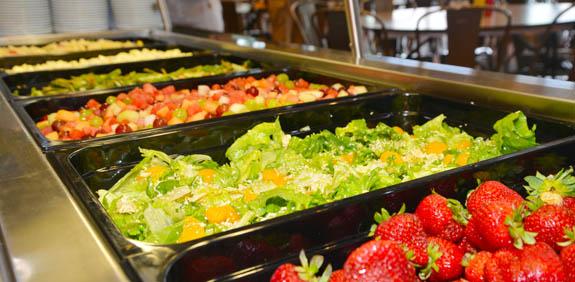 salad bar at summer camp