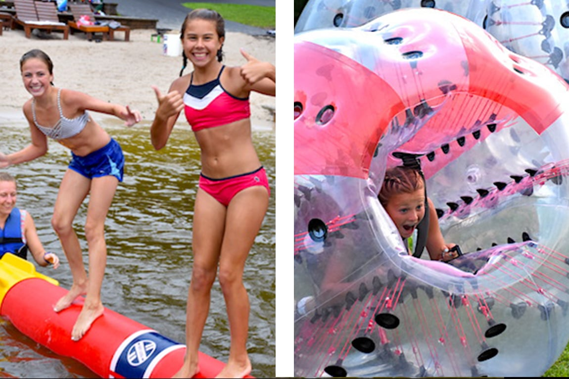 kids using inflatables in Trout Lake