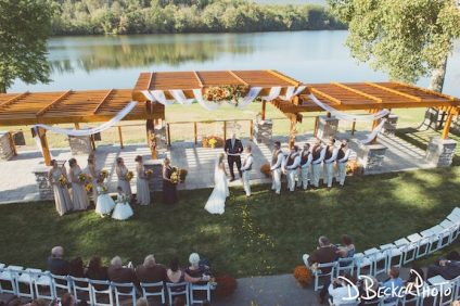 aerial shot of wedding at Trout Lake
