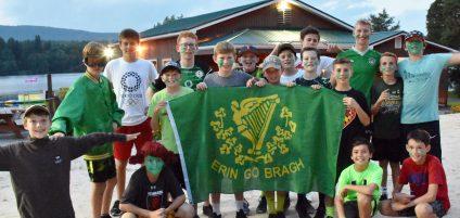 boys holding Erin Go Bragh flag