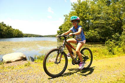 girl riding bicycle at ISTC